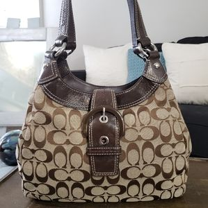 "COACH Lynn ""Signature C"" Bag - Brown Monogram"